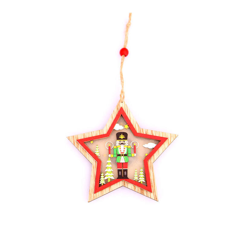 Wholesale Wood Decorated led flashing Handing Christmas Tree Ornament glow in the dark