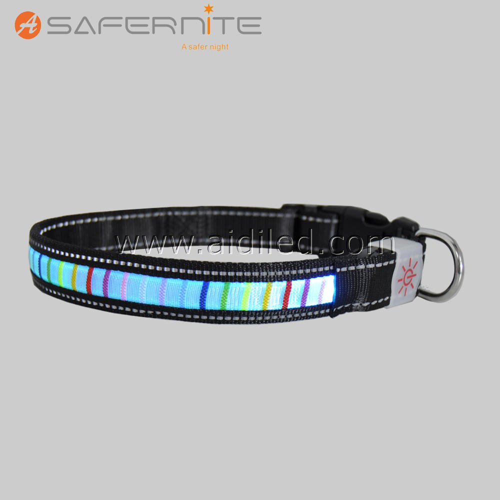LED Light Flashing Night Nylon Adjustable Safety Collar for Pet Dog
