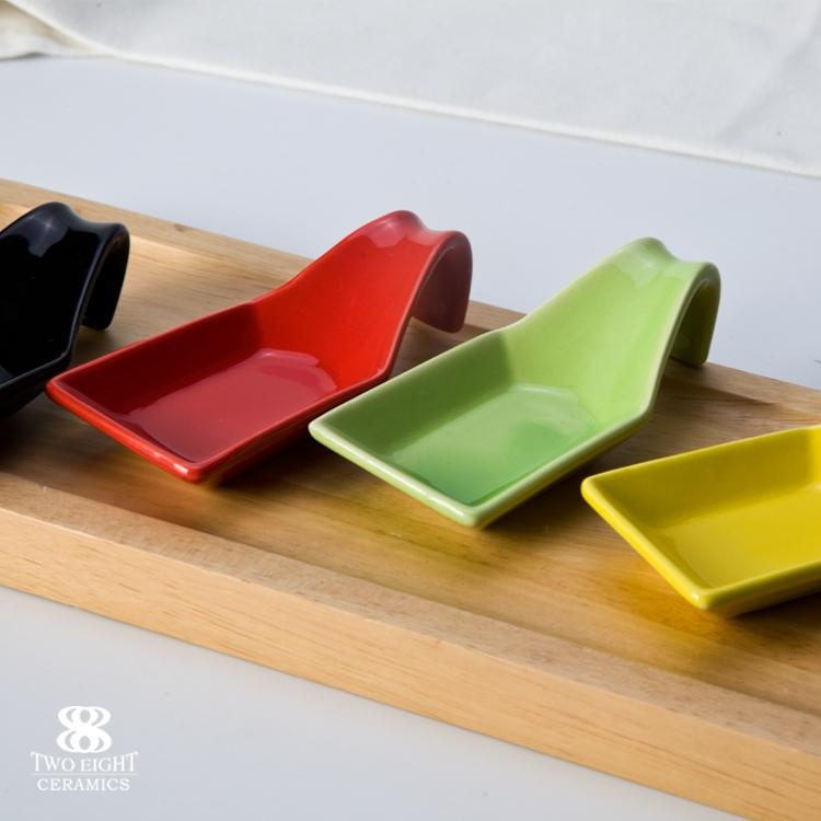 Hotel Spoon Shaped Ceramic Sauce Dish, White Color Porcelain Tasting Spoon Ceramic Banquet^