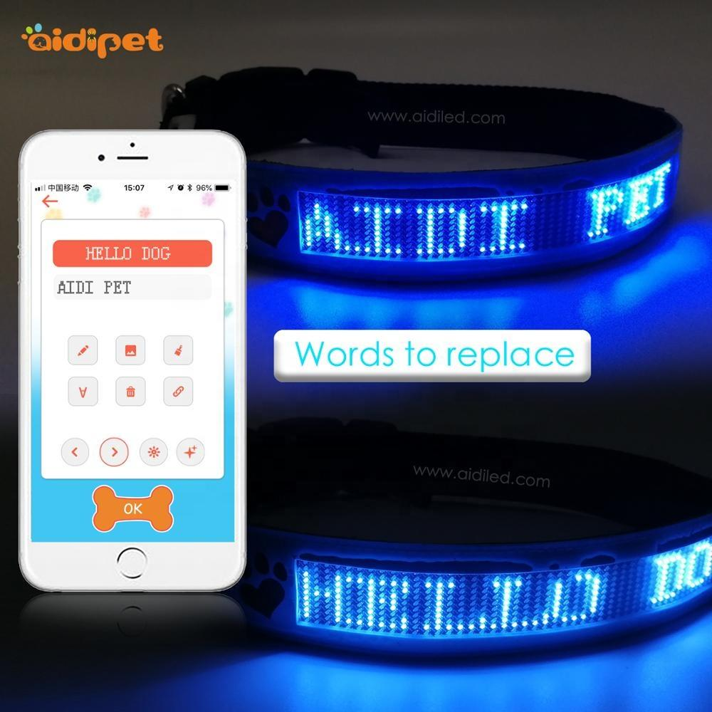 Smart Tech Led Dog Collar Type Words You Want APP Control Dog Collar with Led Screen Bluetooth Dog Collar