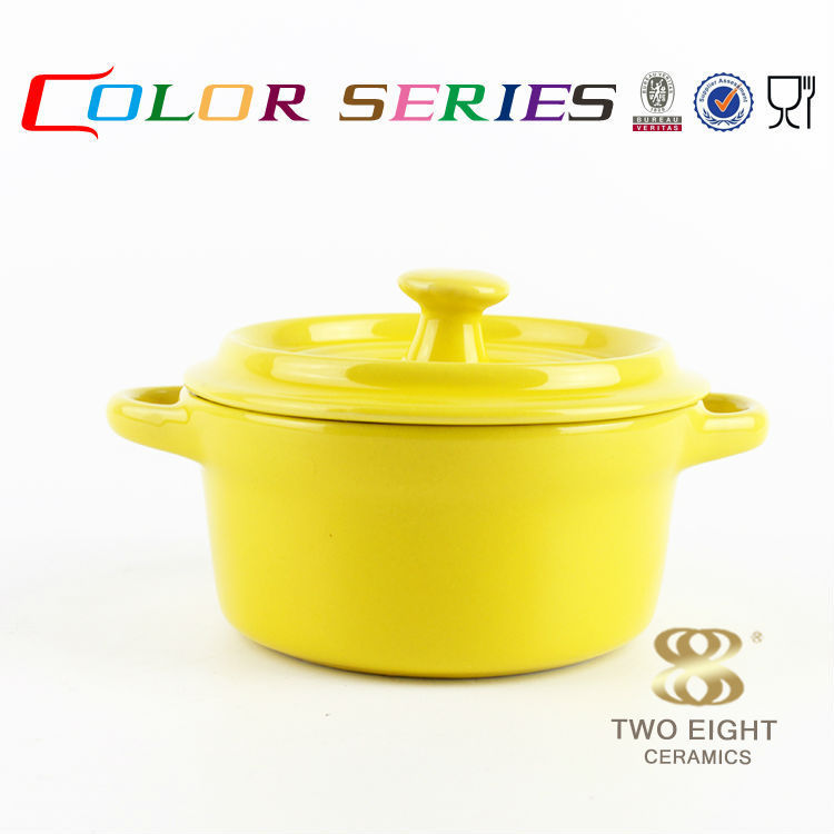 Cookware stew round yellow ceramic stone-coated fry pan