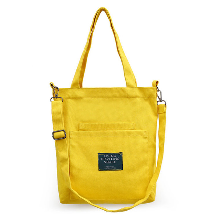Osgoodway2 Online Hot Selling Yellow Fashion Canvas Shoulder Shopping Bag Handbag Women