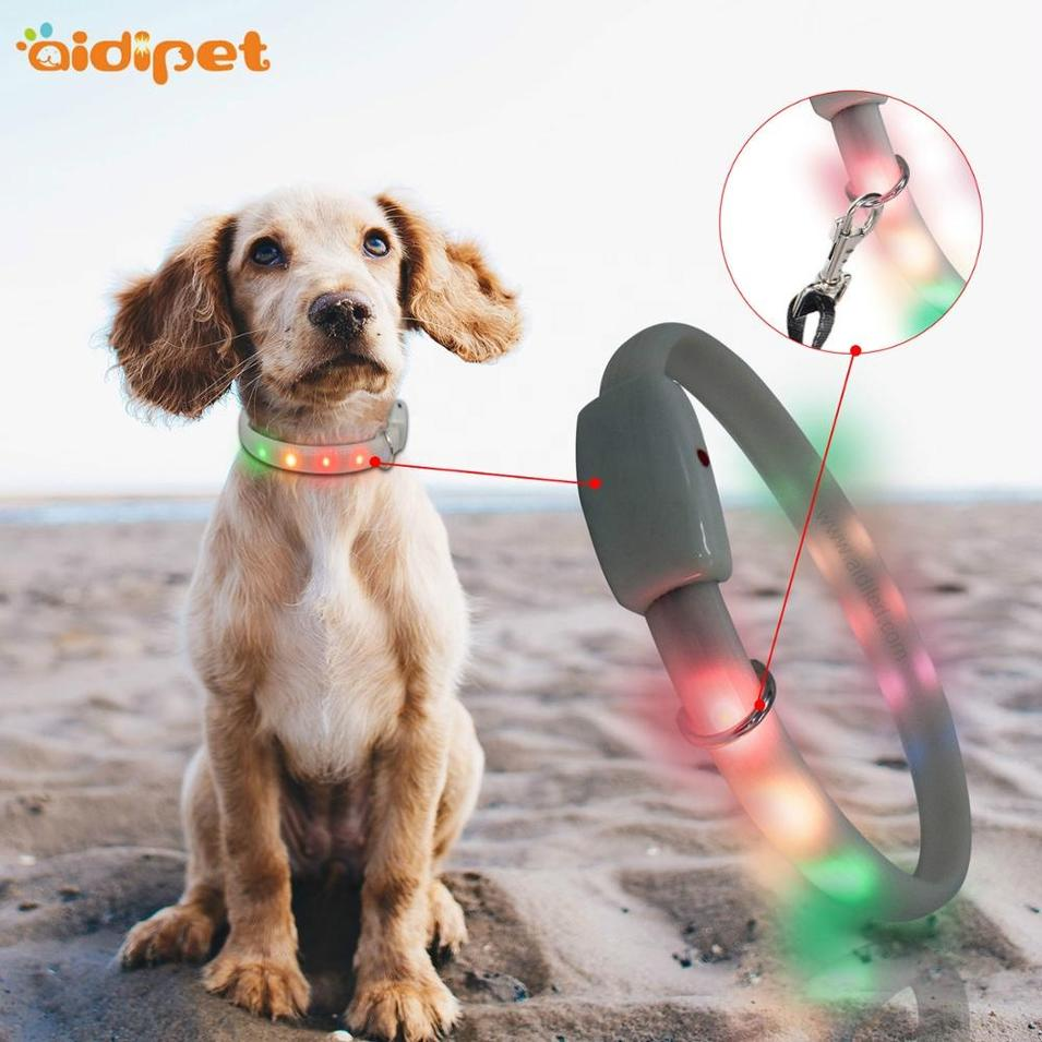 RGB LED Silicone DOG COLLAR D-RING USB rechargeable battery