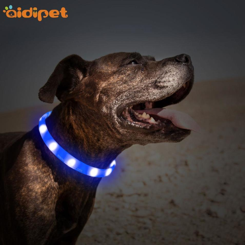 China Supplier USB Rechargeable Silicone Glowing Walking Safety LED Dog Collar