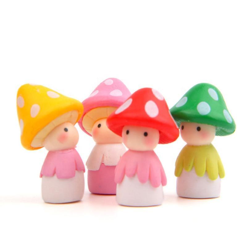 4 Pcs DIY Fairy Garden Cute Mini Animal Plant Mushroom Figurines ResinAccessories For Home Decorations