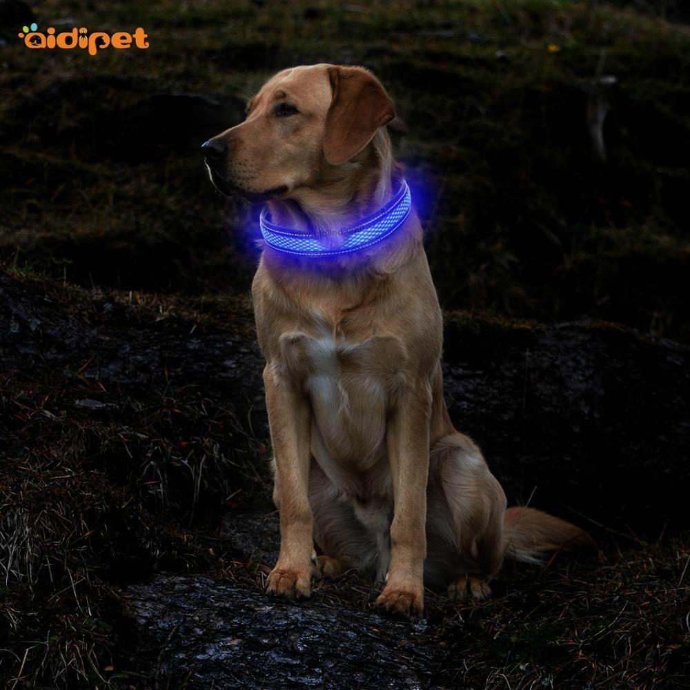 LED nylon with mesh USB rechargeable battery shining dog collar