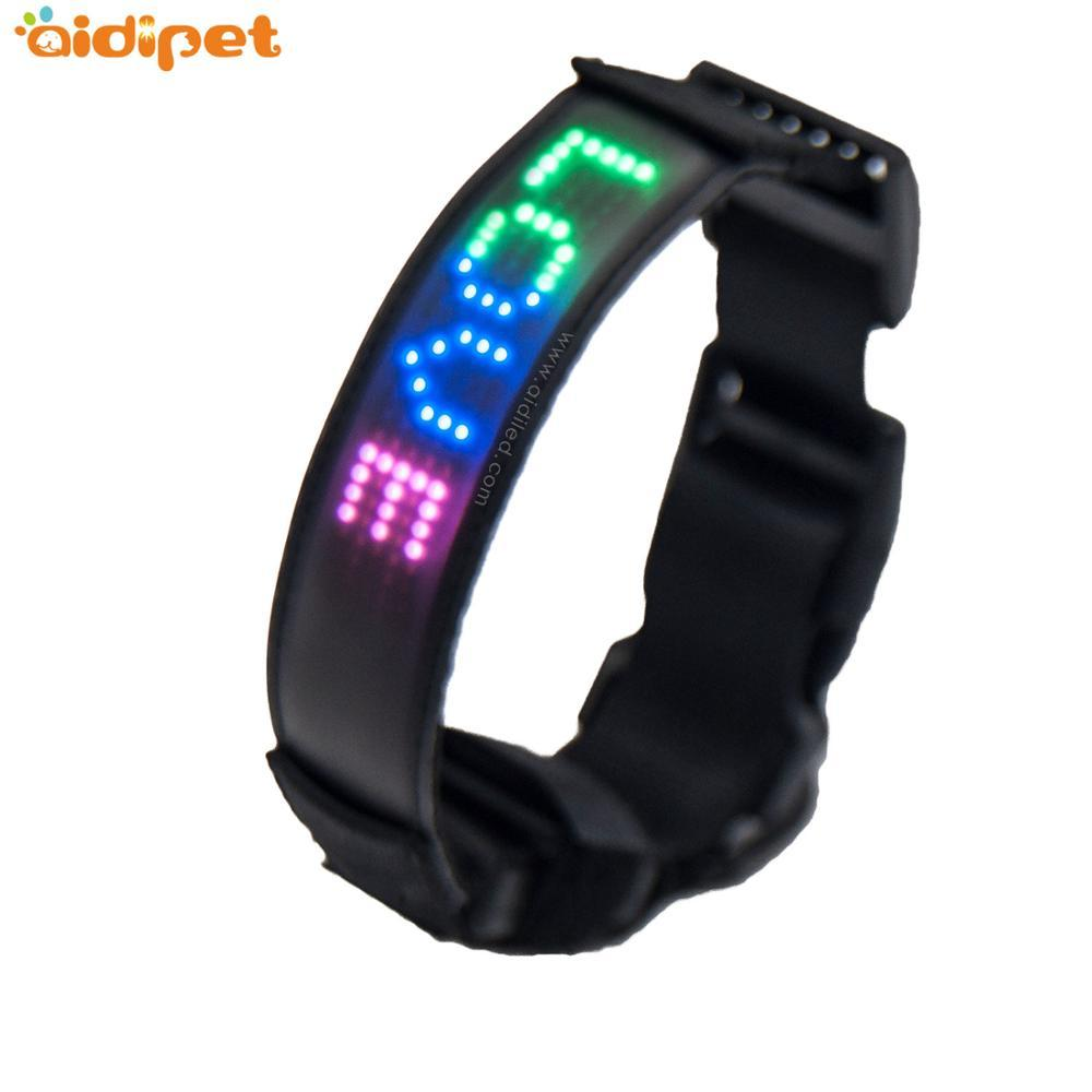 manufacturer wholesale rechargeable waterproof adjustable pet led dog collar with flashing screen