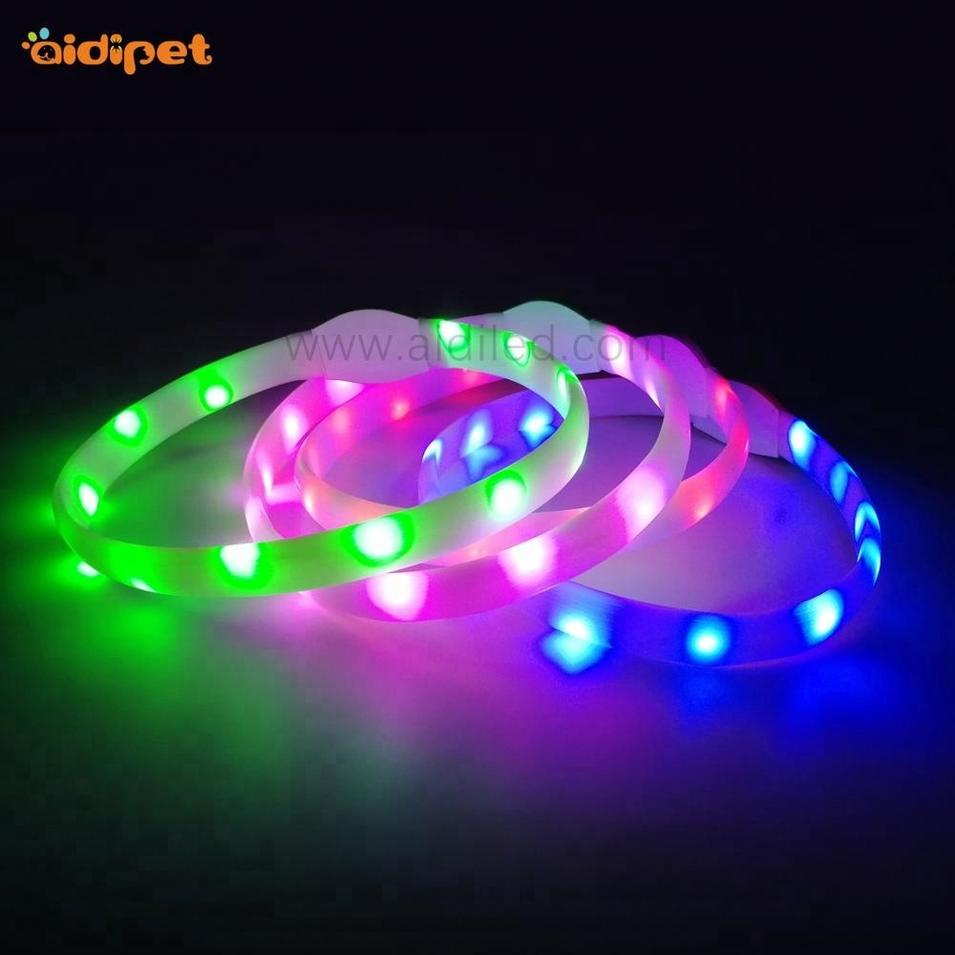 2018 New Product Safety Durable Silicone Waterproof Led Dog Collar