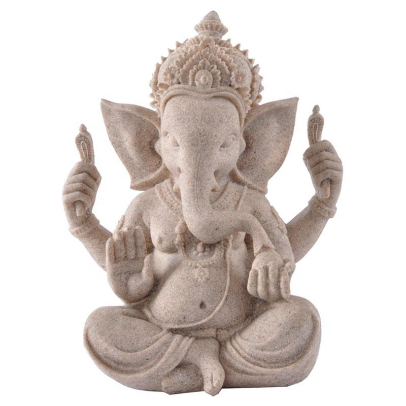 Resin Crafts Southeast Asia Indian Style Elephant Sculpture Ganesha Buddha Statue Home Decoration Resemble Sandstone Color