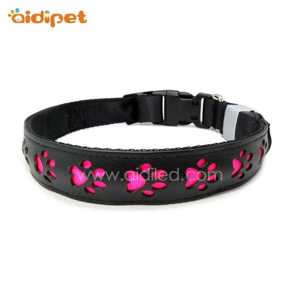 Promotional Adjustable USB Rechargeable Flashing leather LED Dog Collar