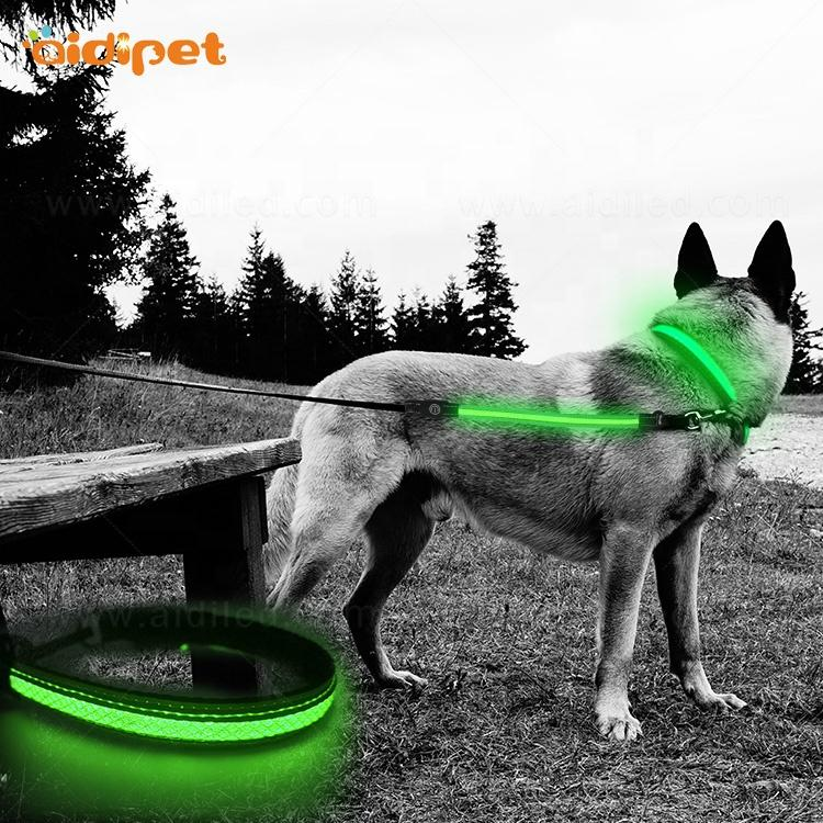 Reflective Led Flashing Pet Dog Leash and Collar Set with Led Light for Small Dogs Tiny Dog Collar Lesh with Led