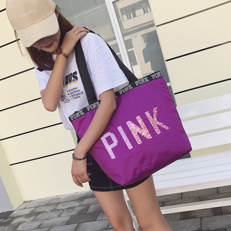 Osgoodway2 Pink Shopping Bags Woman Ladies Fashion Travel Large Capacity Shopping Sequin Tote Bag Handbag For Women
