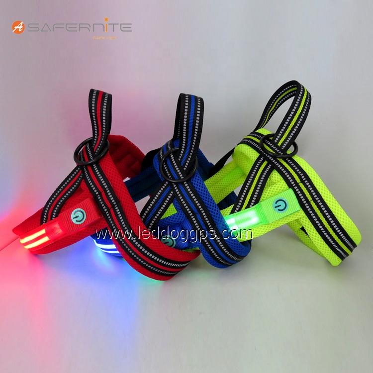 Lighthound Led Flashing Dog Harness Light Up for Night Safety Vest for Dogs Dual Optical fibers Illumintaed harness