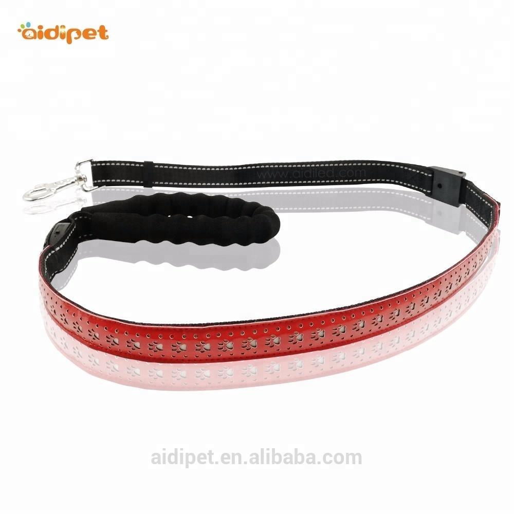 Wholesale Dog Leash, Nylon Dual Led Dog Leash With USB Rechargeable