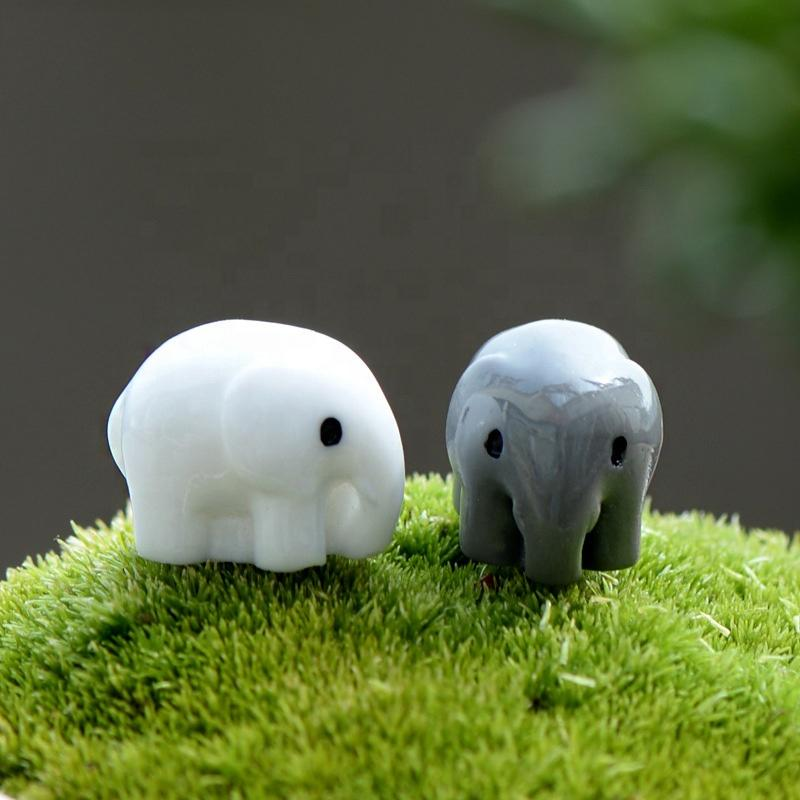 Fairy Garden Accessories Miniatures Animal Elephant Figurines Resin Grey and White