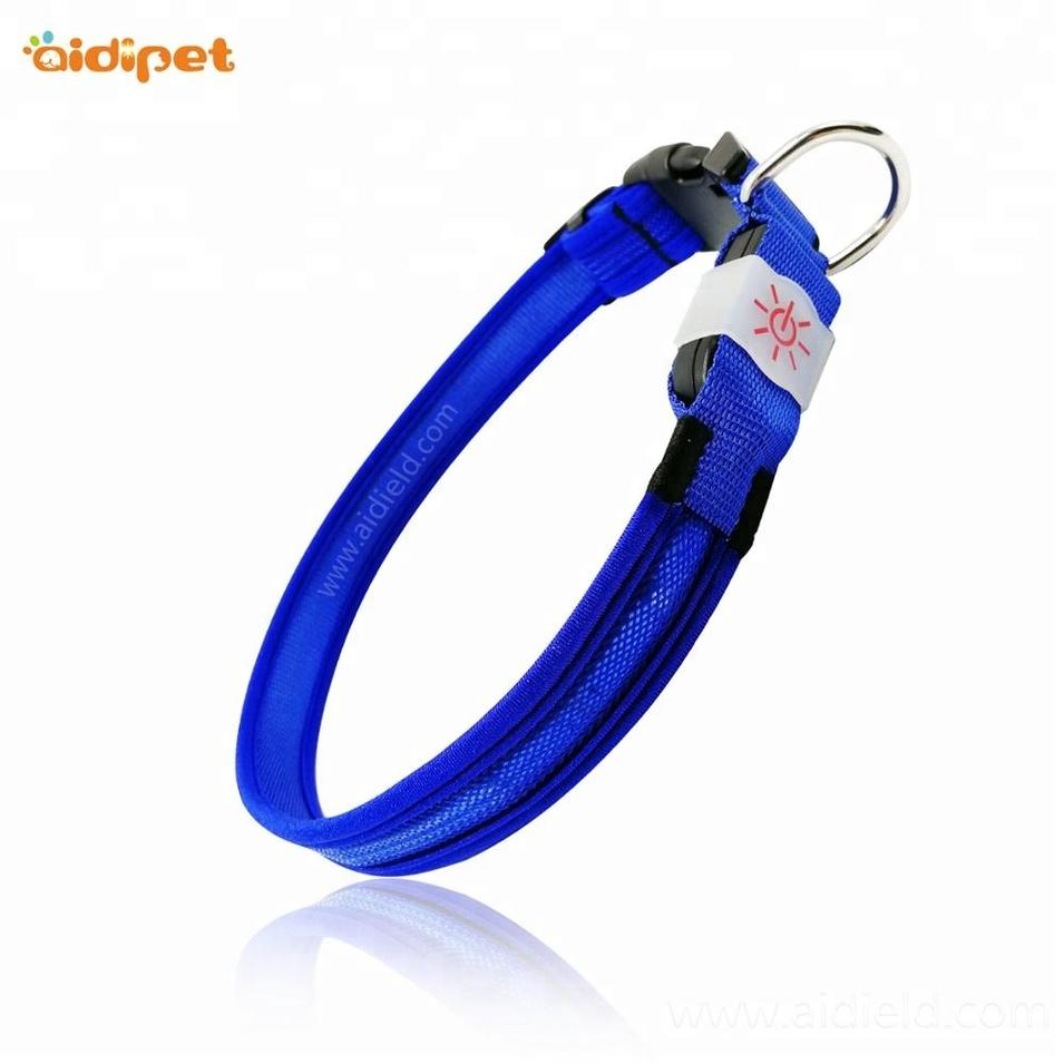 AIDI Pet Supplies High Light Soft Lycra Nylon Adjustable Led Dog Collar