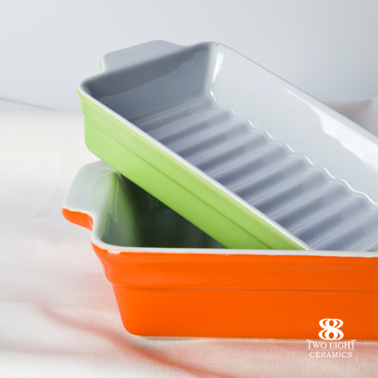 Green and Orange Color Porcelain Dishes and Plates,Rectangle Plate Microware Safe Barbecue Plate^