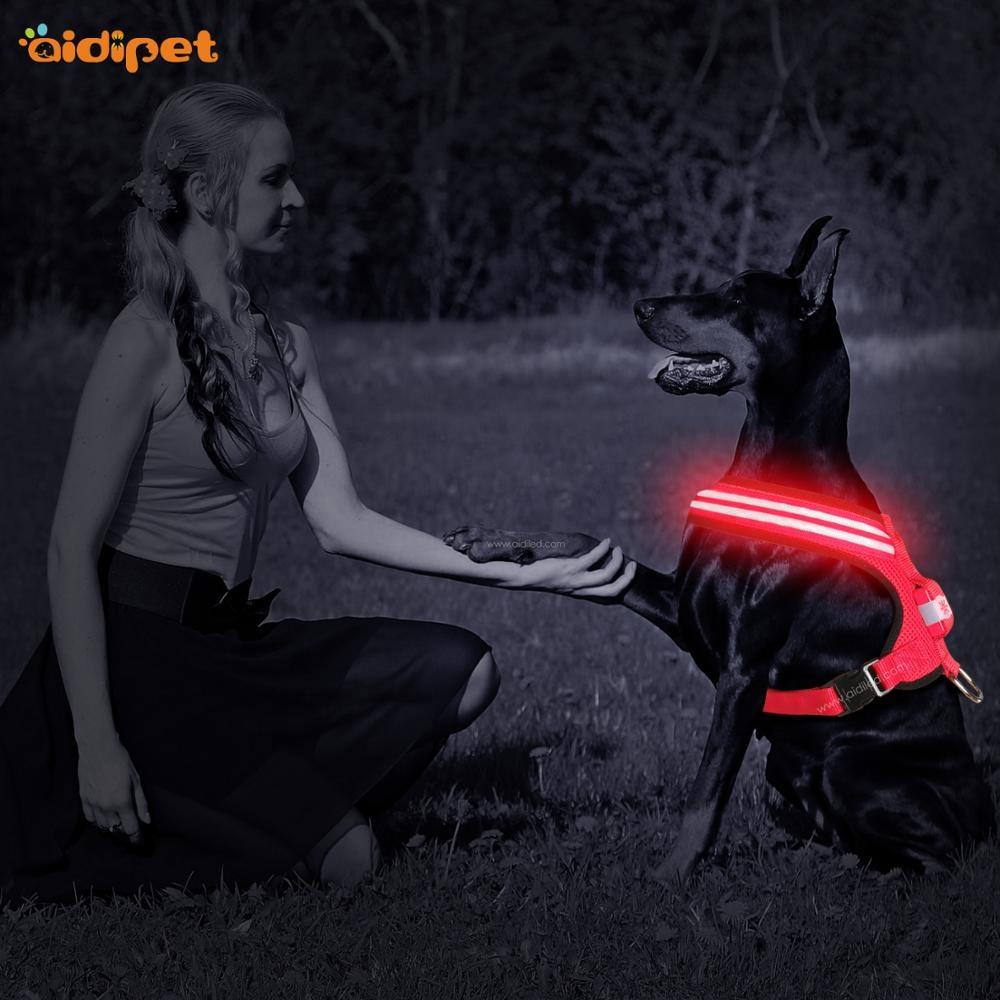 Wholesale Reflective Led Dog Harness Dual Optical Fiber Dog Harness Vest Adjustable Size for Pet Night Safety