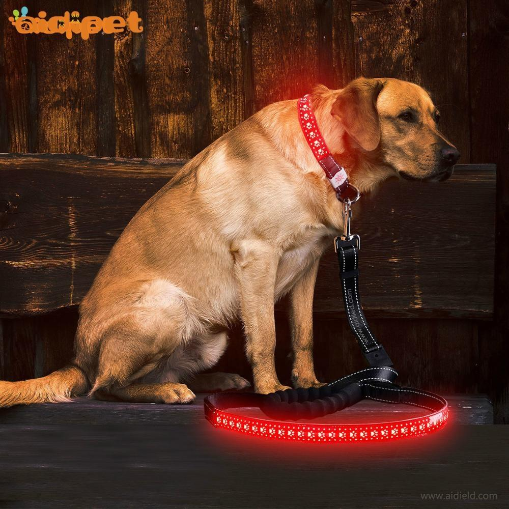 PU Leather Dog Leash with Led New Style Anti-Lost Running Led Dog Lead Collar & Leash Sets Pet Supply China Factory Wholesale