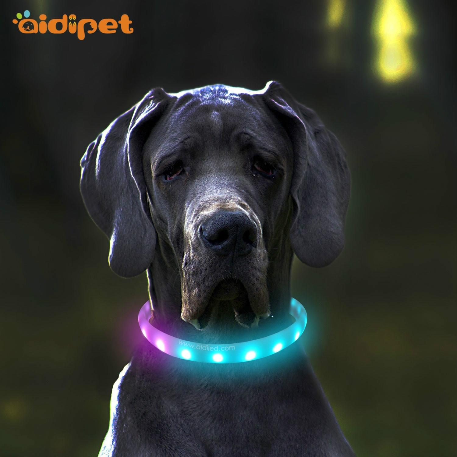 USB Led Dog Collar Rainbow Color RGB Flashing Pet Accessory Collar for Night Walk Custom Logo Cuttable Puppy Led Collar