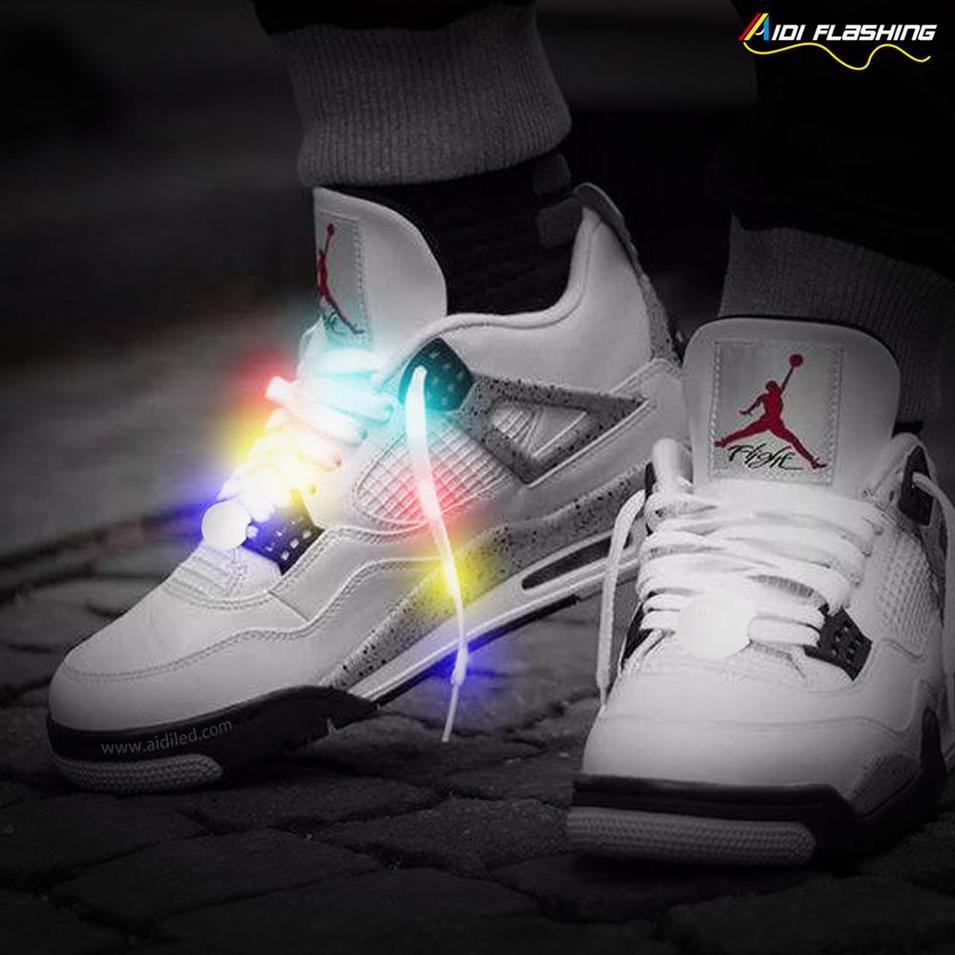 Flashing LED Shoe Laces with 10 LED Lamp Beads Fashion Safety Light-Sports Reflective Shoelaces