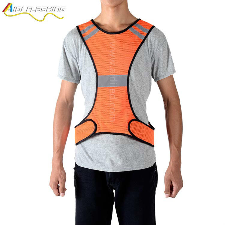 wholesale night safety custom fluorescent flashing led safety vest for running cycling