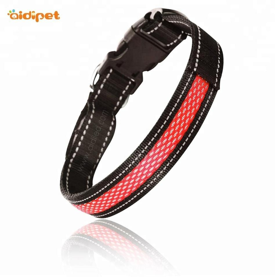Dog Pet Products Nylon Flashing Reflective LedDog Collar USB Rechargeable