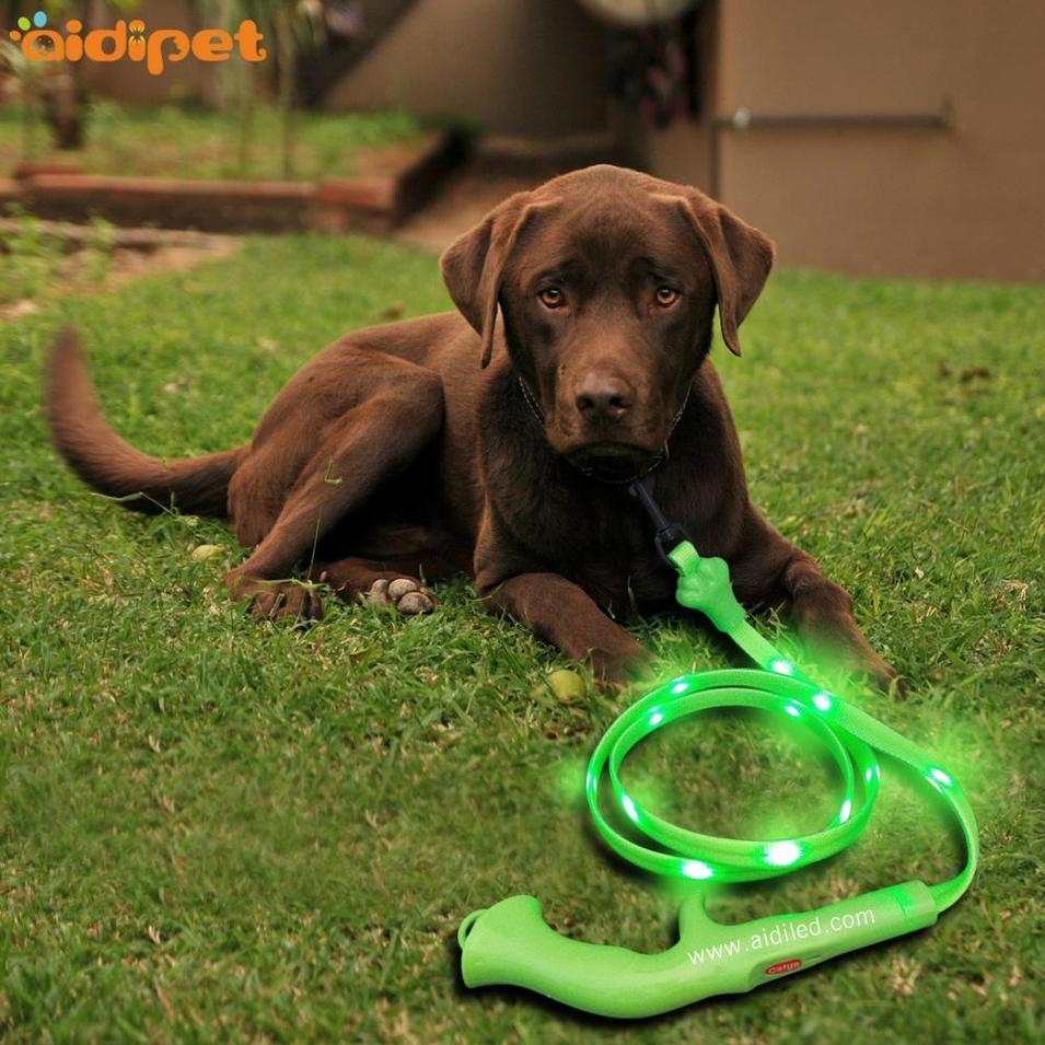 USB rechargeable Flat Led PVC Dot Light Dog Leash