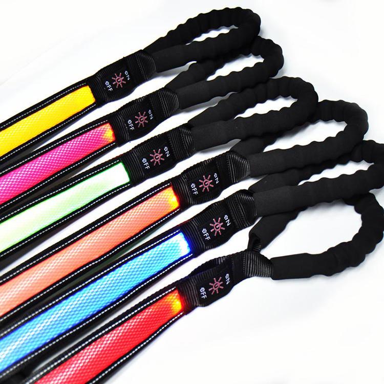 LED Lighted fabric Safety pet Leash - Super-Bright LED's Improved Dog Visibility