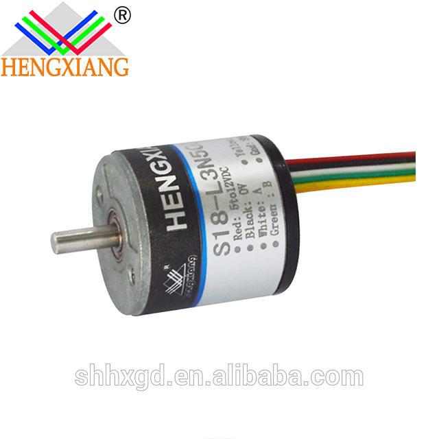 S18 outer diameter 18mm solid shaft 2mm 360 pulse NPN low level effective DC5V cable length 150mm IP50 incremental encoder