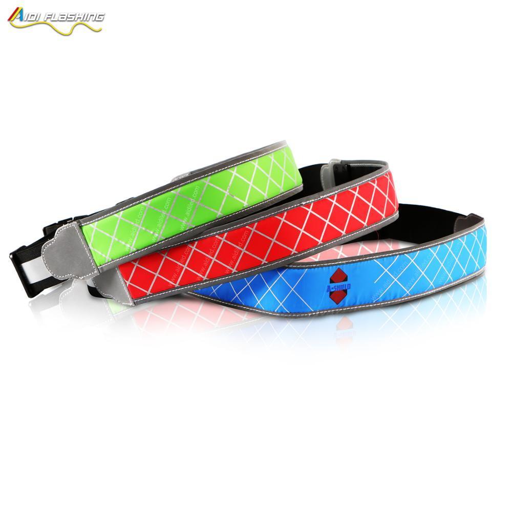 USB USB Rechargeable LED Belt hot products reflective sport led nylon waist belt