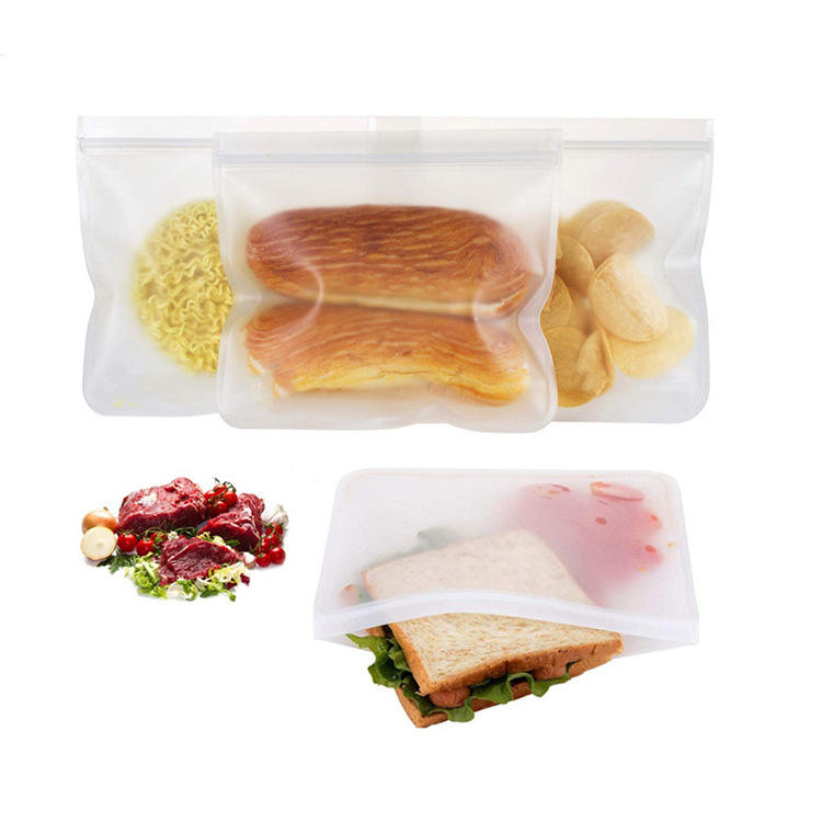 Reusable Flat and Stand up Solid PEVA Food Storage Bag for Food Fruit and Vegetables Snack bags sandwich bags environmentally