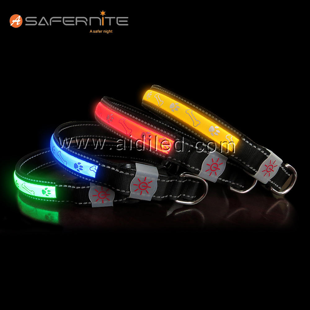 Cute Bone Printing Dog Collar with Led Light Soft Lycra Comfortable Using Light Up Collar Wholesale Pet Supply Factory