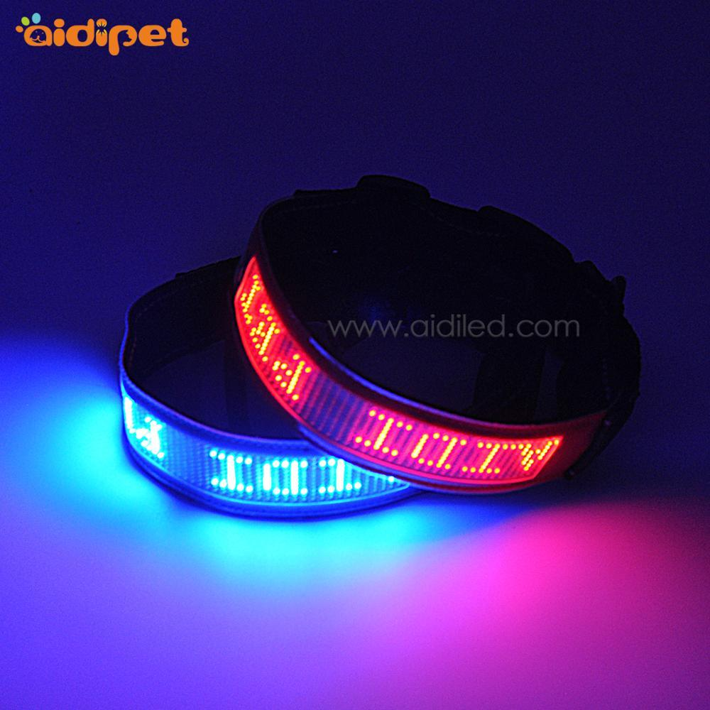 The Only Factory Make APP Controlled Led Dog Collar Show Your Words On the Collar Smart Tech AIDI LED Display Pet Collar