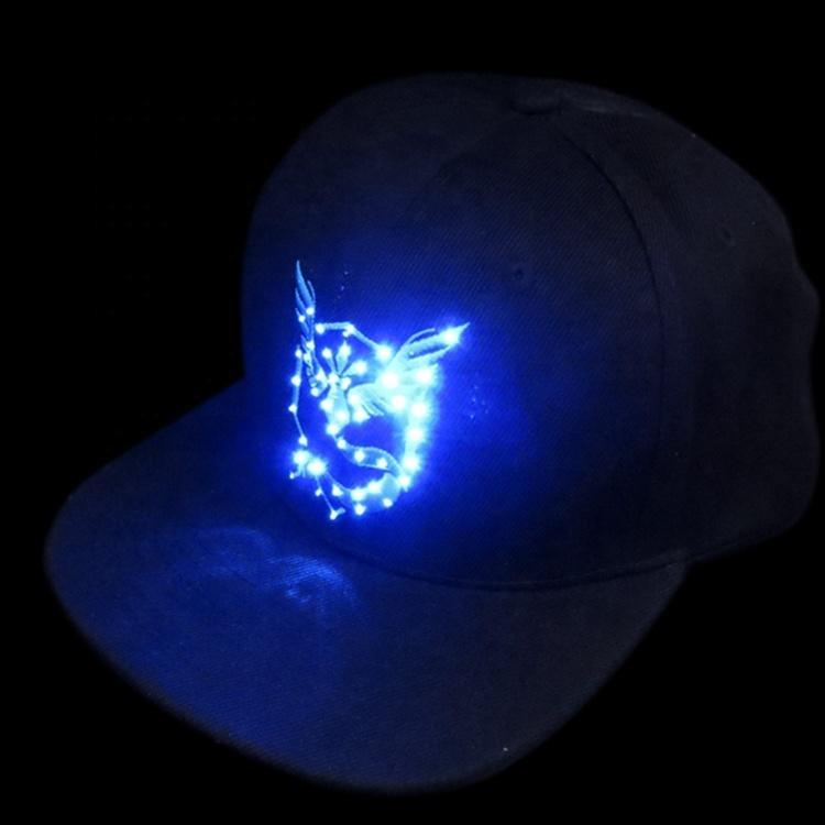 FlashinL Led Hat with Pokemon Printing Street Party Club Led Cap Attractive Decoration Pokemon Light Up Hat