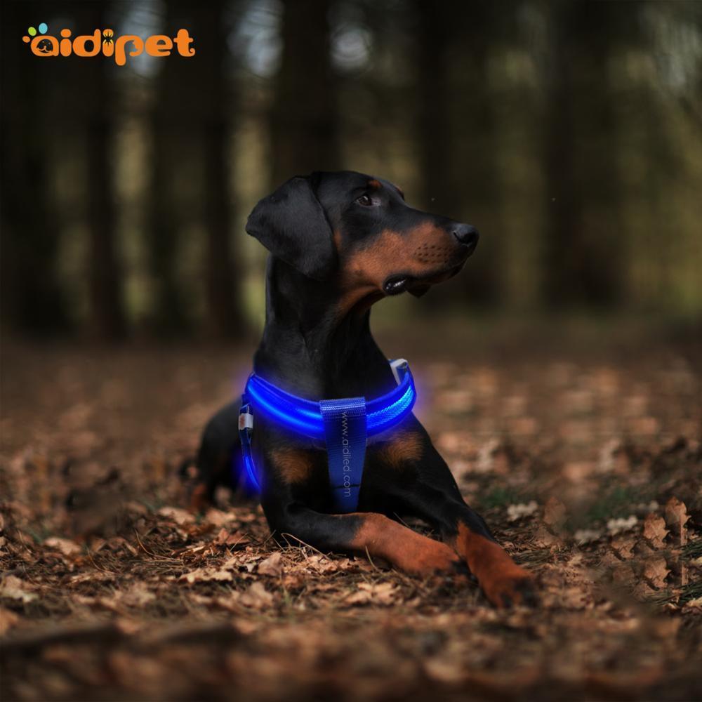 Custom USB Rechargeable Soft Comfortable LED Dog Harness
