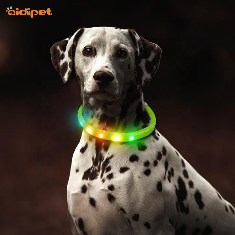 Nylon Fish Filament Cover RGB Colorful Dog Collar with 450mAh USB Rechargeable Battery Flashing RGB Dog Collar