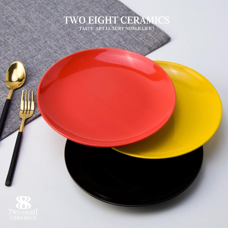 Durable hight temperature porcelain tableware steak porcelain restaurant coloful plate