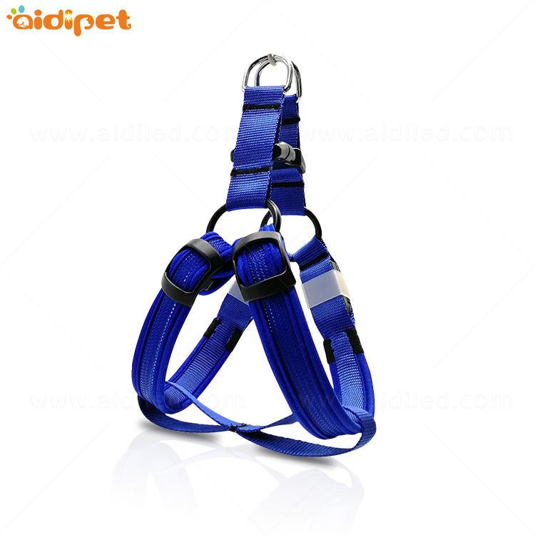 Nylon Dog Pet Safety LED Flashing Light Harness LED Leash Collar Vest