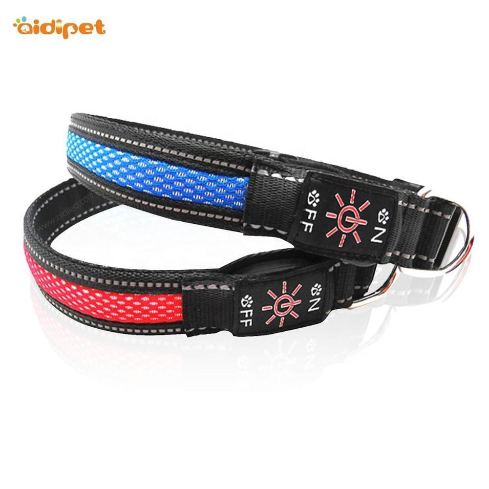 LED nylon and mash USB Rechargeable Light Led Dog Collar