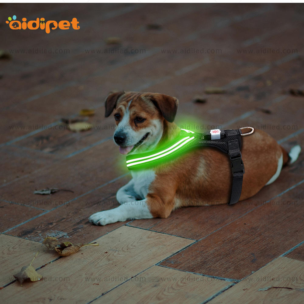 LED Lights Dog Pets harness Adjustable Polyester Glow In Night Pet Dog Cat Puppy Safe Luminous Flashing Necklace Pet