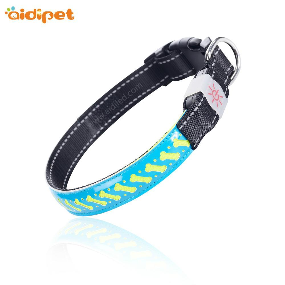 2020 Rechargeable PU Leather nylon webbing Flashing Led Dog Collar