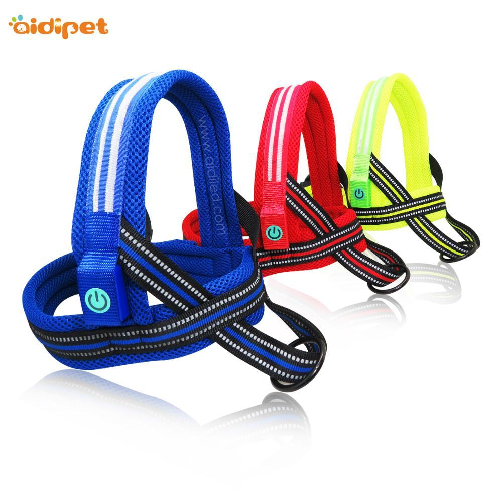 Soft Fashionable Harness for Dog Blue Harness Led Safety Dog Collar Green Red Pet Vest Light UP Dog Harness Vest Manufacturer