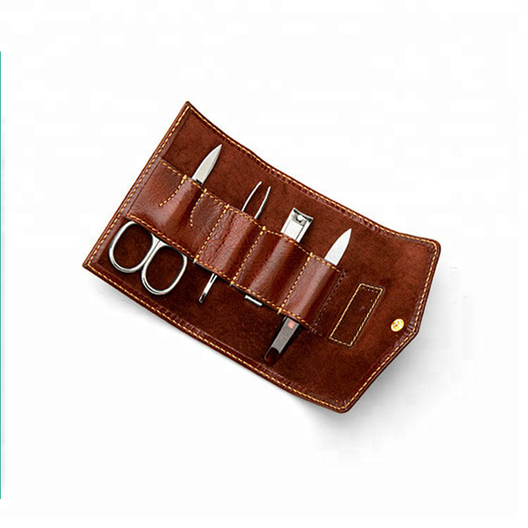 GF-B205 Smooth Cognac & Espresso Suede Leather Ladies Mini Manicure Set