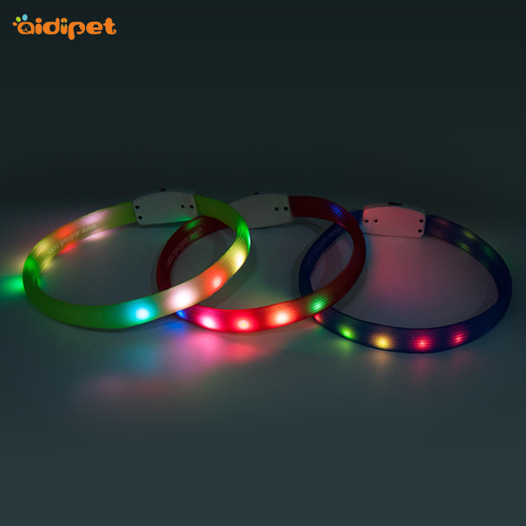 Customized Eco-friendly Pet Supplies Mesh Led Dog Collar with Light