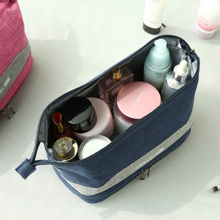 product-Osgoodway Double Compartment Small Travel Make up Organizer Bag Waterproof Cosmetic Pouch Ba-1