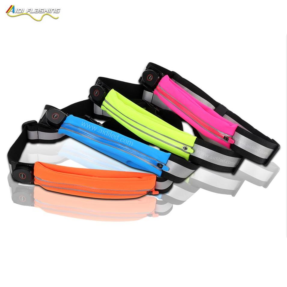Popular Luminous Waist Bag laycra material water resistant sport waist pocket USB Rechargeable Battery