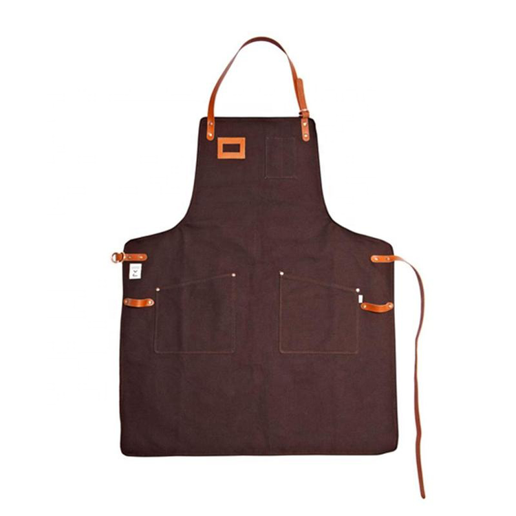 Men Heavy Duty Durable Brown Canvas Apron With Leather Trim