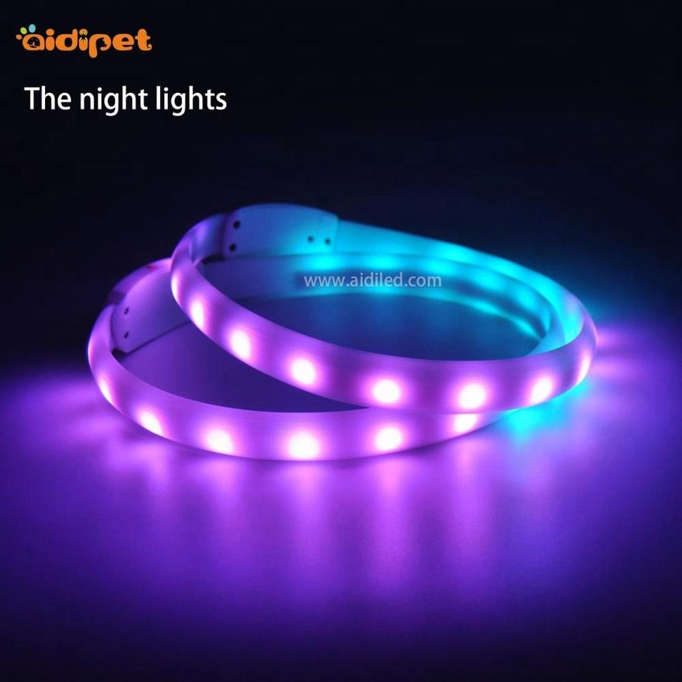 LED Rotational Colorful Silicone USB Rechargeable Light Led Dog Collar