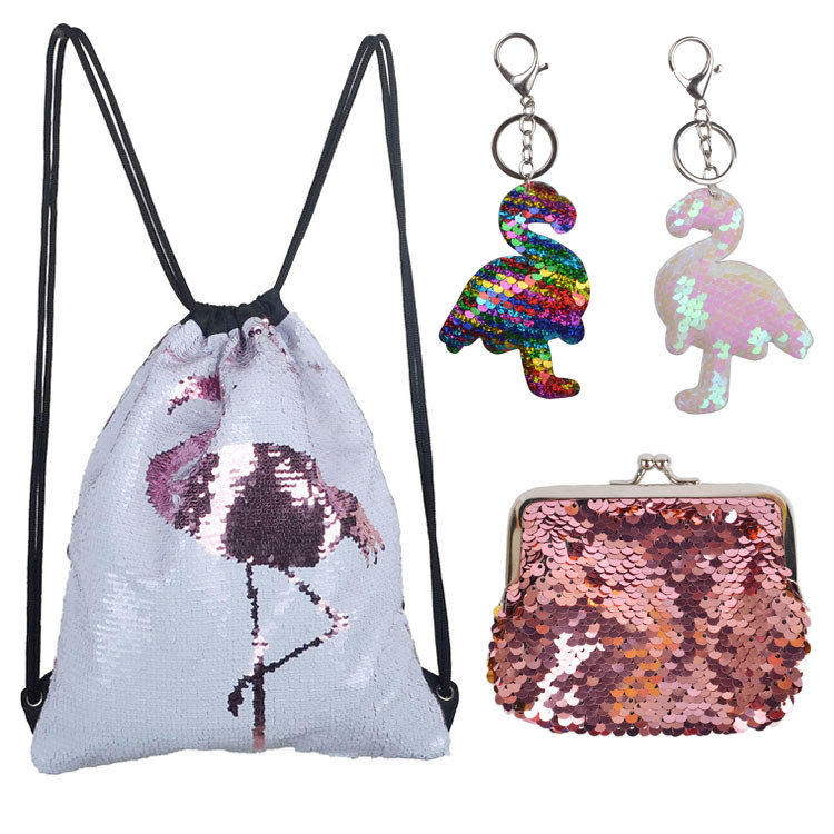 Osgoodway2 Beautiful flamingo glitter kids gift bag set girls reversible sequin drawstring backpack gym bag